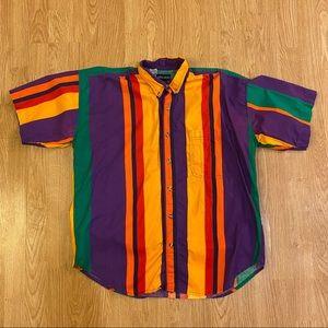 Vintage colorful multi stripe button down